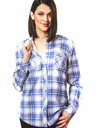 BC Clothing Women's Sherpa Lined Plaid Flannel Shirt Jacket (XX-Large, Denim Plaid)