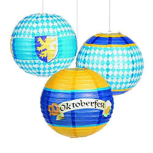 Fun Express Oktoberfest Hanging Paper Lanterns Decorations (Set of 6)