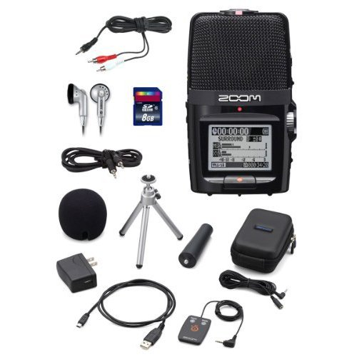 Zoom H2n Handy Handheld Digital Multitrack Recorder Bundle with APH-2n Accessory Pack, SD Card, Earbuds, 1/8-Inch-to-RCA Cable, and 3.5mm Stereo Cable ()