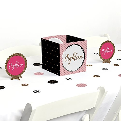 Big Dot of Happiness Chic 18th Birthday - Pink, Black and Gold - Birthday Party Centerpiece & Table Decoration Kit by Big Dot of Happiness
