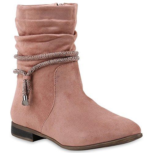 Stiefelparadies Damen Schlupfstiefel Wildleder-Optik Stiefel Schnallen Schuhe Boots Gefütterte Stiefeletten Flandell Rosa Pink Total