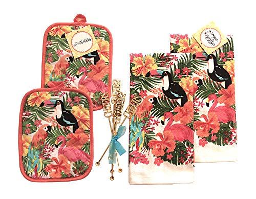 Seasonal Towel Sets: Fun Summer Tropical Paradise with Palm Trees, Flamingo and Toucan