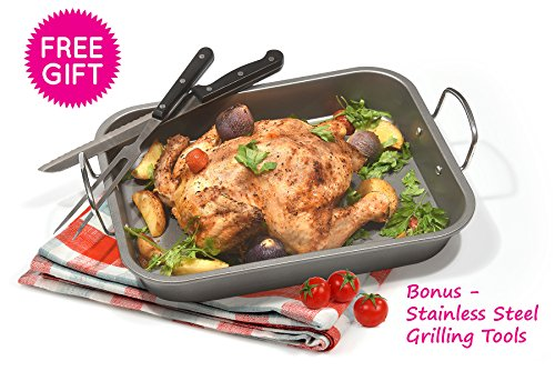 Fox Home Roasting Pan Set , Non-Stick, Carbon Steel Baking Dish With Bonus Serrated Meat Knife, Stainless Steel Fork by FOX HOME