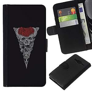 KLONGSHOP // Tirón de la caja Cartera de cuero con ranuras para tarjetas - Cráneo floral de Rose Red Vignette Negro - Samsung Galaxy Core Prime //