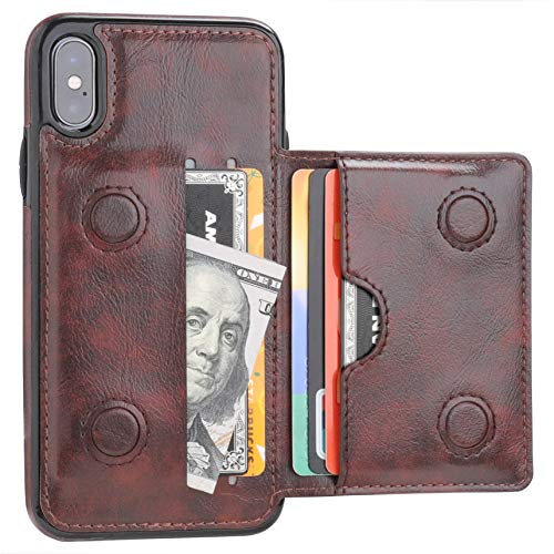 iPhone Xs Wallet Case iPhone X Wallet Case Credit Card Holder, KIHUWEY Premium Leather Kickstand Durable Shockproof Protective Cover iPhone X/Xs 5.8 Inch(Brown)