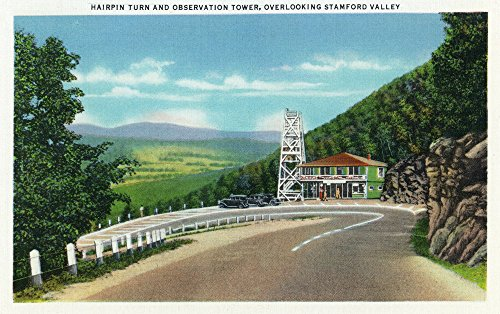 Stamford Valley, MA - Mohawk Trail Hairpin Turn and Observation Tower View (12x18 SIGNED Print Master Art Print w/Certificate of Authenticity - Wall Decor Travel Poster)