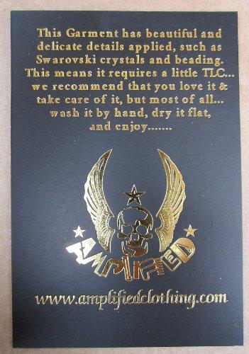 Edition Rockstar per Ultimate Vintage Club e Amplificata di cristallo Sequins Rock Donna Design Donna Rock Shirt Tatuaggio Vip Stella T Donna Special Tiger Nero Nero FBxHw