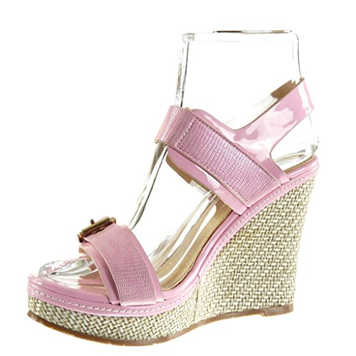 Angkorly Women's Fashion Shoes Sandals Mules - Platform - Snakeskin - Braided - Buckle Wedge Platform 11.5 cm Pink R8L5EoI