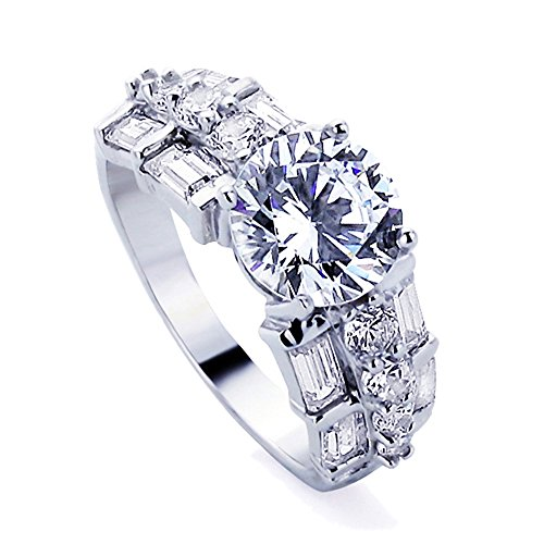 Sterling Silver 2.5ct Round CZ Baguette Accented Solitaire Wedding Engagement Ring ( Size 5 to 8 ) - Accented Sterling Silver Ring