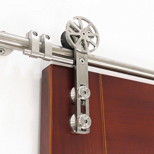 DIYHD 6FT stainless steel sliding barn wood door hardware movable spoke wheel brushed barn door sliding track kit by DIYHD (Image #7)