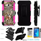 For Samsung Galaxy J3 Amp Prime Express Prime Galaxy Sol ITUFFY 3items: LCD Film+Stylus Pen+[Shock Proof] [Holster Combo w Belt Clip] Armor [KickStand] Case (Tree Deer Camouflage Pink)