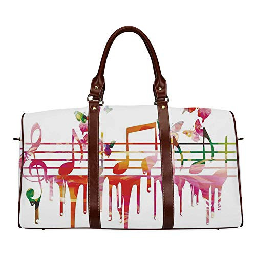 Music Decor Women's Travel Bag,Colorful Artwork Music Notes Clef Composer Orchestra Decorative Classic for Ladies,18.62
