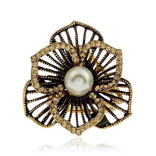 - Y-XM 3×Brooch Pins Vintage Diamond Floral tri-Ring Silk Scarf Buckle