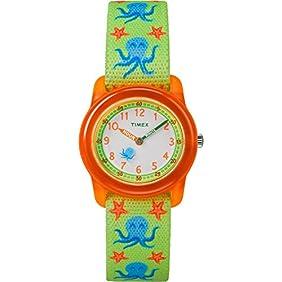 Timex Boys TW7C13400 Time Machines Analog Green/Orange Octopus Elastic Fabric Strap Watch