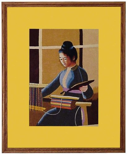 Embroidery Paintings with Frames - 22'' x 17'' Thai Girl - GP06 by VietnameseArtwork.com