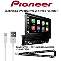 Pioneer AVH-3300NEX 7 Single Din DVD Receiver Apple CarPlay Built-in Bluetooth with Screen Protector, Lightening to USB Adapter and a FREE SOTS Lanyard