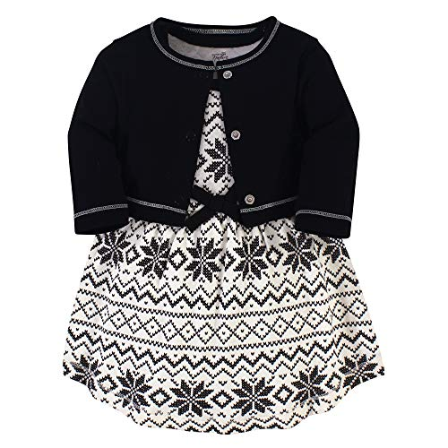 Touched by Nature Girl Organic Cotton Cardigan and Dress, Black Fair Isle 2-Piece, 0-3 Months (3M)