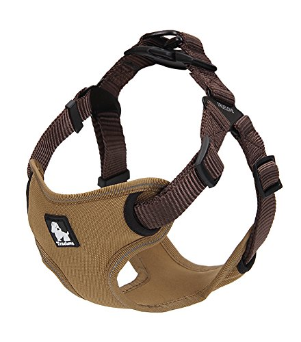 rable Nylon Dog Harness Safe 3M Reflective Outdoor Pet Dog Walking Vest Harness with Handle For Small/Medium/Large Dogs (Large (Girth 20.5-36 Inch), Khaki and Brown) ()