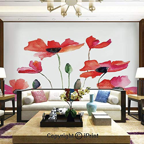 Lionpapa_mural Nature Wall Photo Decoration Removable & Reusable Wallpaper,Poppies Wildflowers Nature Meadow Painting with Watercolor Effect,Home Decor - 66x96 inches