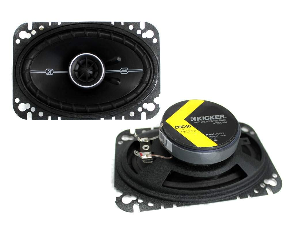 "Kicker DSC46 (41DSC46) 4"" x 6"" D-Series Coaxial 2-Way Car Speakers with 1/2"" Tweeters"