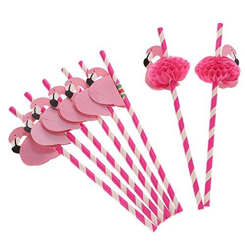 LIGONG Pack of 12 Flamingo Honeycomb Straws for Hawaiian Luau/Birthday/Weddings/Pool Cocktail Party Supplies Tropical Drinks Decorations,ROSE