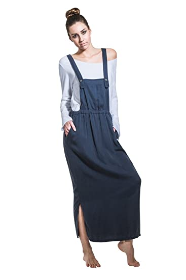 fc5c6ca3fc4 Long Dungaree Dress - Navy Maxi Loose Pinafore with T-Shirt NINANAVY-One  Size  Amazon.co.uk  Clothing
