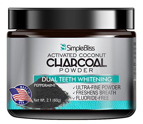 Teeth Whitening Activated Charcoal Powder 60g - 100% Natural, Safe & Effective Organic Coconut Tooth Whitener - Removes Stains Gently, Fluoride Free, Non-GMO, Made in USA - Peppermint