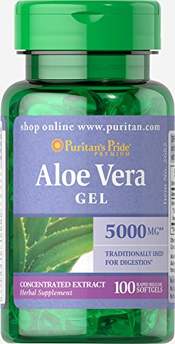 Aloe Vera Gel Capsules - Puritan's Pride Aloe Vera Extract 25 mg-100 Softgels