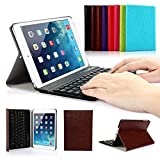 Ipad Mini 1/2/3 Keyboard Case, Symbollife Dark Brown Folding PU Leather Folio Case Cover & Stand with Removable Bluetooth Keyboard For Apple iPad Mini 2 with Retina Display / the Newest iPad Mini 3 (2014 Version)