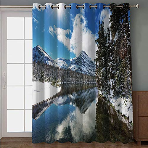 Blackout Patio Door Curtain,Winter,Tranquil View of Glacier National Park in Montana Water Reflection Quiet Peaceful Decorative,for Sliding & Patio Doors, 102