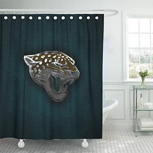 - Ladble Decor Shower Curtain Set with Hooks Jacksonville Florida Creative Art Emblem Blue Metal Background Jaguars 66 X 72 Inches Polyester Waterproof Bathroom
