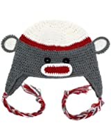 Red & Gray Monkey Earflap Hat for babies & Toddlers by juDanzy
