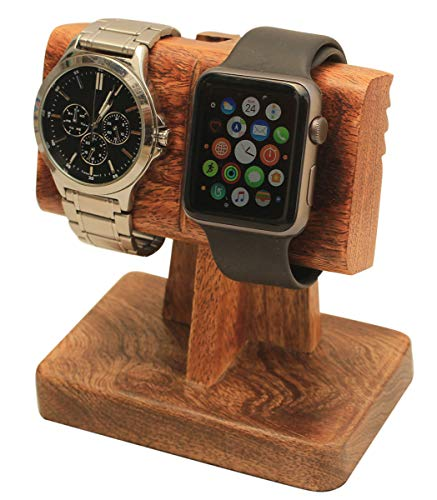 abhandicrafts Labor Day Sale 2 in 1 Watch Stand Nightstand Organizer Platform for All Models/Moms, DADS, Grandparents Made from Mango Wood