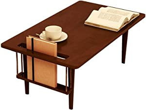 WoodShine Mid Century Modern Mini-Swing Coffee/Tea Table, Japanese Accent Floor Desk, Fresh Trapezoidal Table-Shape's Solid Rubber Wood Furniture, Walnut Color and Length of 31.50 inch