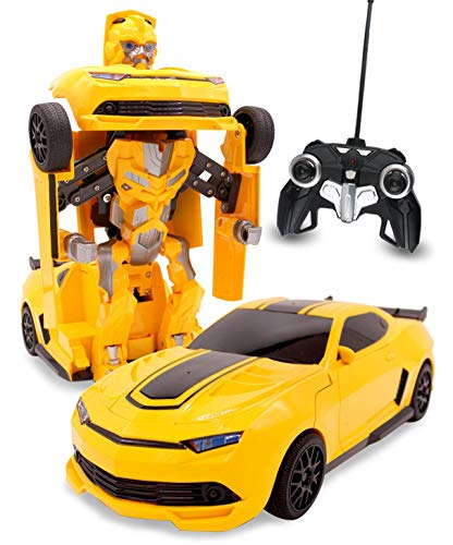 RC Toy Transforming Robot Remote Control (27 MHz) Yellow Sports Car with One Button Transformation, Realistic Engine Sounds and 360 Speed Drifting 1:14 Scale (Yellow) -  Usshopsksw, WF-6