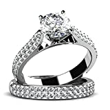 925 Sterling Silver Women Engagement Wedding Band Ring Cubic Zirconia Double Layers Set Size 9
