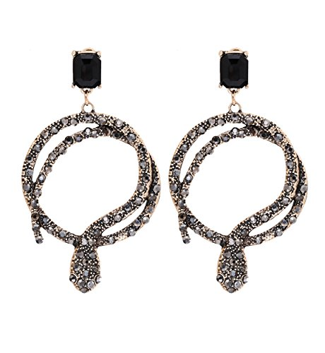 Pewter Dangle Pierced Earrings - Vintage Snake Statement Dangle Earrings Pave Crystal Coiled Snake Circle Drop Earring for Women Gold