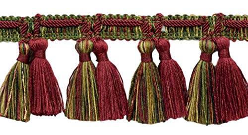DÉCOPRO 5 Yard Value Pack of Veranda Collection 2.5 Inch Tassel Fringe Trim|Burgundy Wine, Olive Green, Yellow Gold, Black|Style# TFV025|Color: Evergreen Berries - VNT19 (4.5M / 15 Ft)