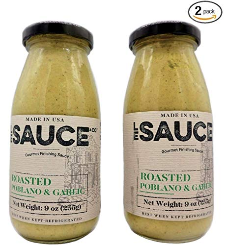 - Le Sauce Gourmet Roasted Poblano & Garlic Finishing Sauce, great on chicken, panko pork chops, fish, vegetables, foodie gift (2-Pack)
