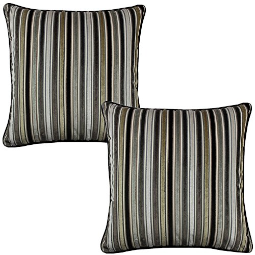 All Smiles 2-Pack Black White Striped Velvet Decorative Pillow Case Cushion Cover Grey Olive Chocolate 17x17