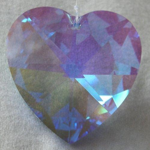 Swarovski 40mm Sapphire Aurora Borealis Large Crystal Faceted Heart Prism