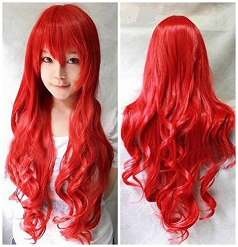 Ani·Lnc Long Wavy 32inches Red Synthetic Cosplay Hair Wig For Women (80cm, Red)