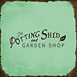 The Potting Shed And Garden Shop Novelty Square Aluminum Metal Sign Rusty Frame Chill Background Brown Lettering