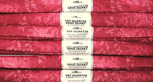 6 FAT QUARTERS MAUVE PINK WITH VINE DESIGN 100% COTTON ~ SEWING, QUILTING, ()