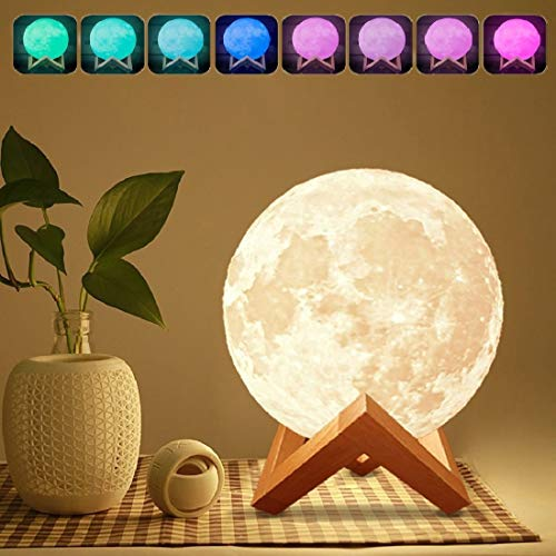 """7-inch Moon Lamp Moon Light (6""""-11""""), 3D Printing Moon Lamp with Stand, Touch Control and Remote Control with LED 16 Colors."""