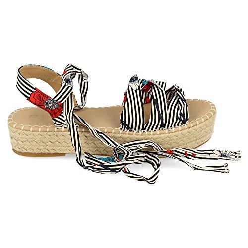 Tiras Al Con Textiles TobilloDoble Sandalia Calidad De Alta Atadas EI2DH9YW