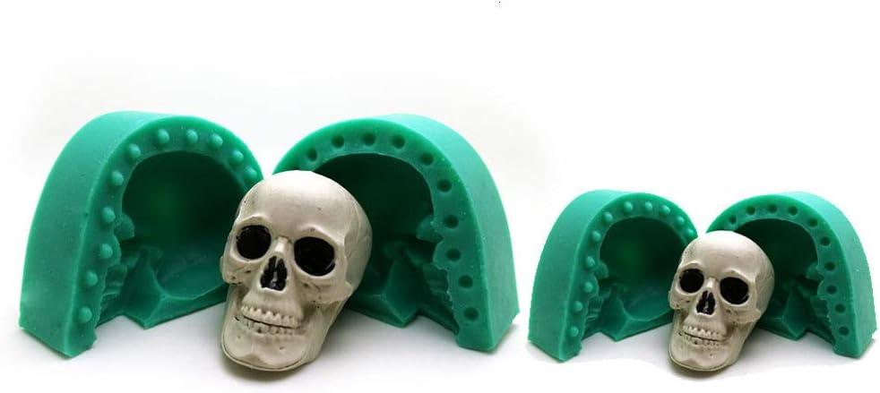 Kunstharz handgefertigt Aromatherapie Schokolade Kerzen Gelee Gips Kuchen Backform f/ür Seife Backformen 3D-Silikonform mit Totenkopf-Motiv Fondant Gips