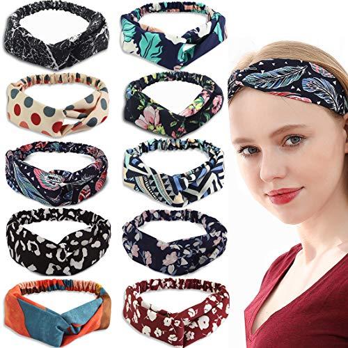 10 Pack Boho Headbands for Women Girls, Elastic Twisted Headbands Hair Bands, Vintage Criss Cross knot Head Bands Turban Head Wrap Fashion Hair Accessories for Women(2021 Update Patten)