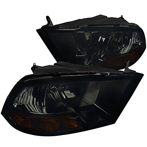 (Spec-D Tuning 2LH-DGP09G-RS Dodge Ram 1500 2500 3500 Crystal Euro Smoke Headlights)