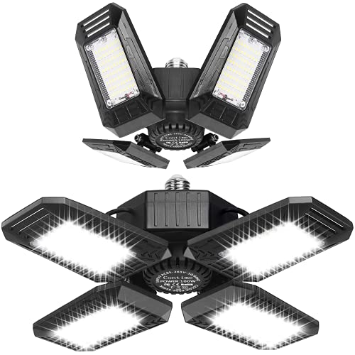 2 Pack 100W LED Garage Lights, 10000LM Garage Lights Ceiling LED, Best for Garage, Basement, Workshop, E26/E27 Base, CRI 85, 6500K Deformable LED Garage Lighting Fixture(NO Sensor)